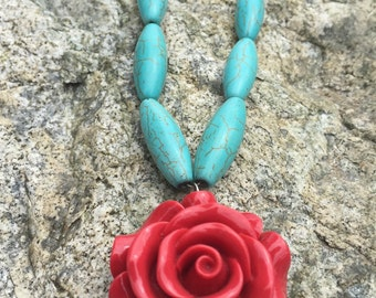 Red Resin Rose and Turquoise Necklace
