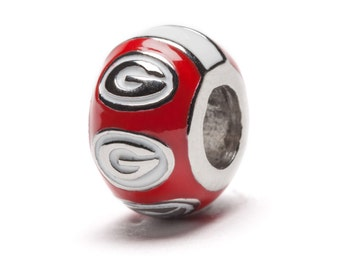 "UGA Georgia Bulldogs Red Round ""G"" Bead Charm for Bracelet or Necklace"