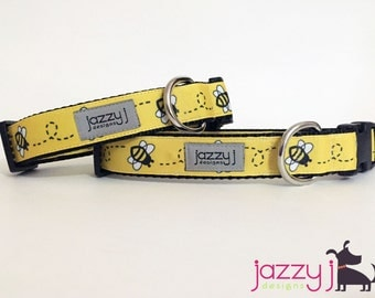 Yellow Busy Bumble Bee Dog Collar