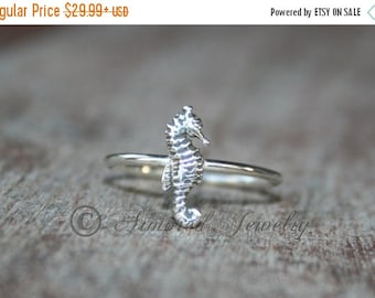 SALE SALE SALE Seahorse Sea Horse Ring- Sterling silver - silver ring - Stacker ring