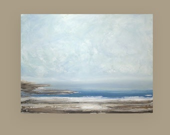 """Art Painting-Acrylic, Seascape,Paintings,Abstract Art, Abstract Painting,Art, by Ora Birenbaum titled: Melancholy 36x48x1.5"""""""