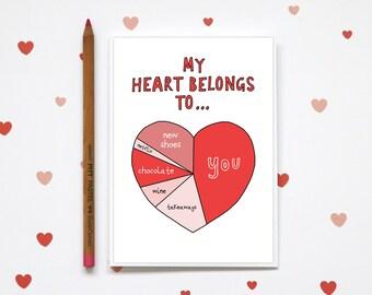 My Heart belongs to (for boy), Anniversary Card, Funny Valentine, Anti Valentine, Funny Anniversary, Heart Love Card, Card for Boyfriend