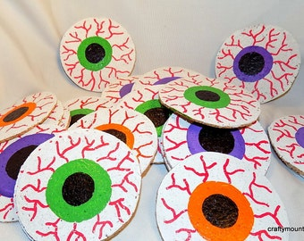 Hand Painted Super Spooky Eyeball Cork Coasters - Free US Shipping