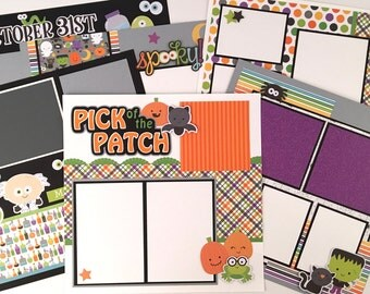 Halloween Scrapbook Page Kit or Premade Six 12x12 pages Pre-Cut with Instructions