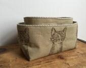 Brown Cat Fabric Bin, Cute Cat Fabric Basket, Cat Fabric Basket, Fabric Storage, Brown Stripe Basket, Essential Oil Storage, Key organizer