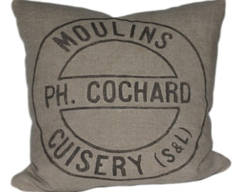 Industrial French Grain Sack Pillow