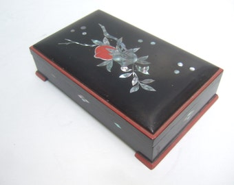 Exotic Mother of Pearl Inlay Decorative Wood Box