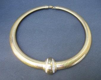 Sleek Gilt Metal Choker Necklace