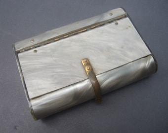 Sleek Gray Pearlized Lucite Clutch Bag c 1950s