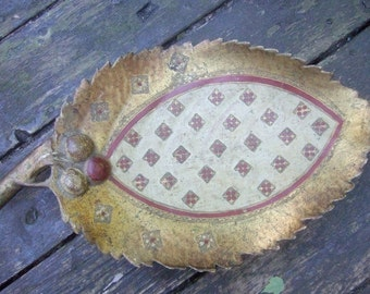 Italian Florentine Gilded Wood Decorative Tray c 1970