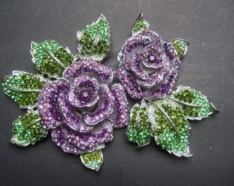 Massive Huge Crystal Show Stopping Flower Brooch