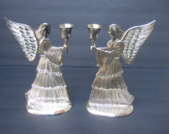 Elegant Pair of Silver Metal Angle Candle Holders