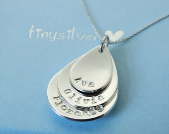 Personalised Silver Drops Necklace - Sterling Silver