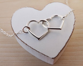 Silver Linked Hearts Necklace - Sterling Silver