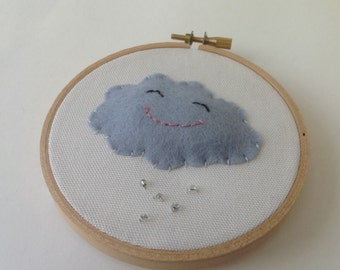 Embroidery hoop art  - Smiling  cloud nursery decor- Gray and white nursery
