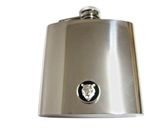 Round Bear 6 oz. Stainless Steel Flask