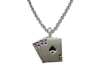 Four Aces Gambling Pendant Necklace