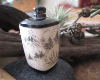 Vintage Chinese Carved Bone Snuff Bottle