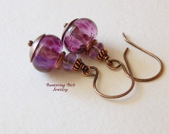 Purple Lampwork Earrings with Amethysts and Handmade Antiqued Copper, Artisan Glass Bead Earrings, Copper Jewelry, Gift for Her