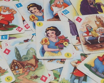 Snow White card game, incomplete set, vintage Disney flashcards