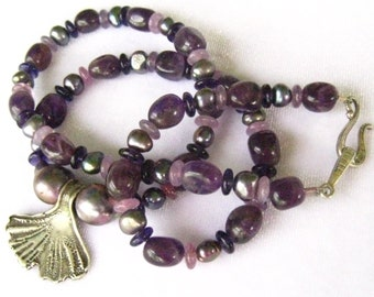 SALE Artisan Sterling Ginko Leaf Pendant on Amethyst Beads & Spacers. Genuine Voilet/Gray Pearls. Necklace is Vintage Studio Piece.