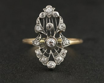 Edwardian Antique Filigree Diamond Ring - 14k Rose Gold & Platinum