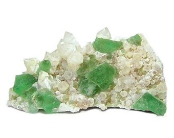 Bright Green Fluorite Crystal Cluster with Quartz on Rock Matrix, Collector's Choice Mineral Specimen from South Africa