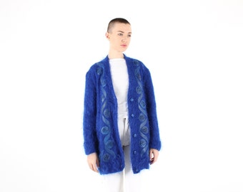 80s MOHAIR + Wool + Leather AUSTRALIANA GUMNUT Fluffy Slouchy Oversized Free Size Electric Blue Cardigan