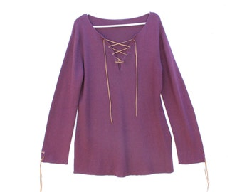 90s LACE UP Slouchy / Oversized Long Sleeve Purple Knit Sweater Dress