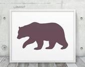 Brown Bear Printable. Warm Brown Grey Bear Silhouette Woodland Animal Print. Rustic Wall Art Nursery Home Office Decor. Instant Download