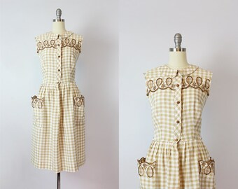 vintage 60s dress / 1960s gingham cotton dress / brown and white checkered dress / embroidered shirt waist dress / Briar Bush dress
