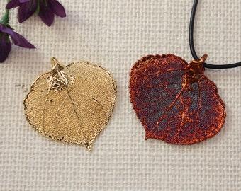 SALE Leaf Necklace, Aspen Leaf, Copper Real Leaf Necklace, Gold Leaf, Real Leaf Pendant, Gold Leaf, Holiday Gifts SALE307