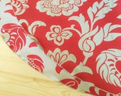 Red Floral Reversible Tree Skirt - Made in USA, Free Shipping, Elegant Christmas Holiday Jacquard