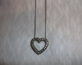 CZ heart neckalce on silver chain.