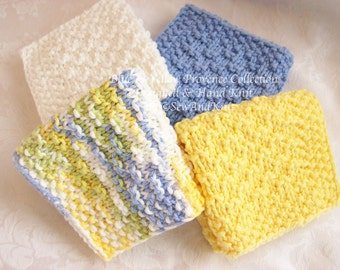 Country French Dish Cloths, Wash Cloths, Face Cloths, Spa Cloths - Hand Knit Set of Four Cotton Cloths in Blue & Yellow for Kitchen or Bath