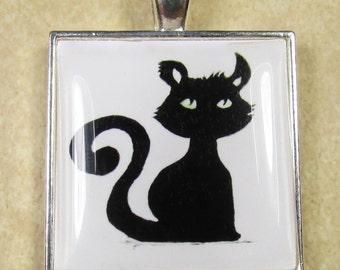 Black Cat Pendant - Halloween Black Cat Watercolor Pendant, Jewelry