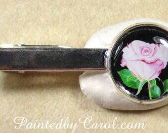Pale Pink Rose Tie Bar, Pink Rose Tie Tack, Pink Rose Tie Clip, Pink Rose Pin, Rose Groomsmen Gift, Rose Groom Jewelry, Rose Wedding Jewelry
