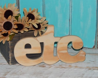 Etc Sign Wood Letters Word Art Word Sign Natural Wood Rustic Wall Decor
