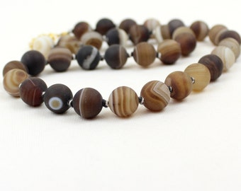 "12mm Banded Agate Necklace 12 mm Brown Striped Agate 18"" Hand Knotted Frosted MapenziGems"