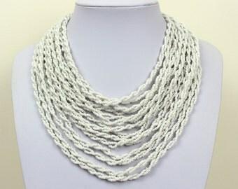 Pure White Necklace. Multi Strand Necklace. White Bib Necklace. White Collar Stlye. Masai Beads. MapenziGems DB29