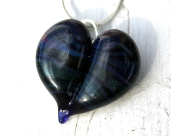 Blue Glass Heart of Sparkling Blue and Purple Pendant, Hand Blown Flamework Necklace, Borosilicate Boro Lampwork Focal Beads