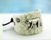 Polar Bear... Leather Bracelet.... OceanBead Style Bracelet  Original by OceanBead