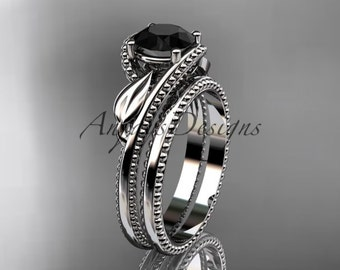 Unique 14kt white gold engagement set with a Black Diamond center stone ADLR322S