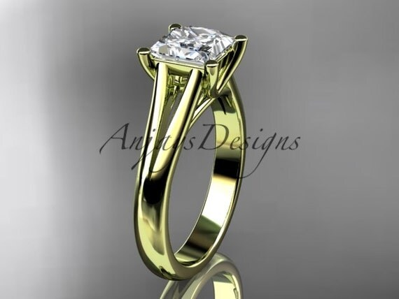 14kt yellow gold diamond unique engagement ring,wedding ring, solitaire ring with moissanite center stone ADER143