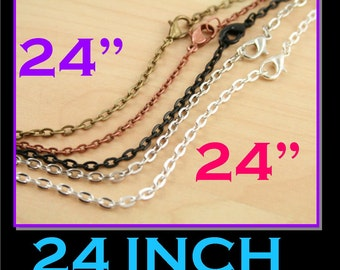 25 Vintage Chains with lobster clasps - Oval Links. Silver, Antique Silver, No Tarnish Black Antique Copper, Bronze, - 24 inch Necklace