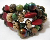 Fun Seed Pod Beads Memory Wire Wrap Bracelet 3 Coil Stackable Jewelry