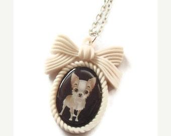 Chihuahua Necklace, Kawaii Cream Cameo