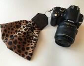"Scarf Camera Wrist Strap - wristlet for dSLR digital camera strap - animal print (5"") photographer gift"