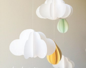 Baby mobile, clouds mobile, paper mobile. Mint and gold mobile. Nursery decoration. Baby shower gift. Clouds and Drops. Happiness rain.