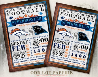 Superbowl Party Invitation, Superbowl 50, Football Party Invite, Super Bowl Party Invite, DIY Printable Football Invitation, Football Team
